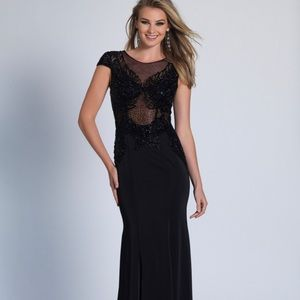 NWT Dave & Johnny Black Prom Dress/gown Size 1/2